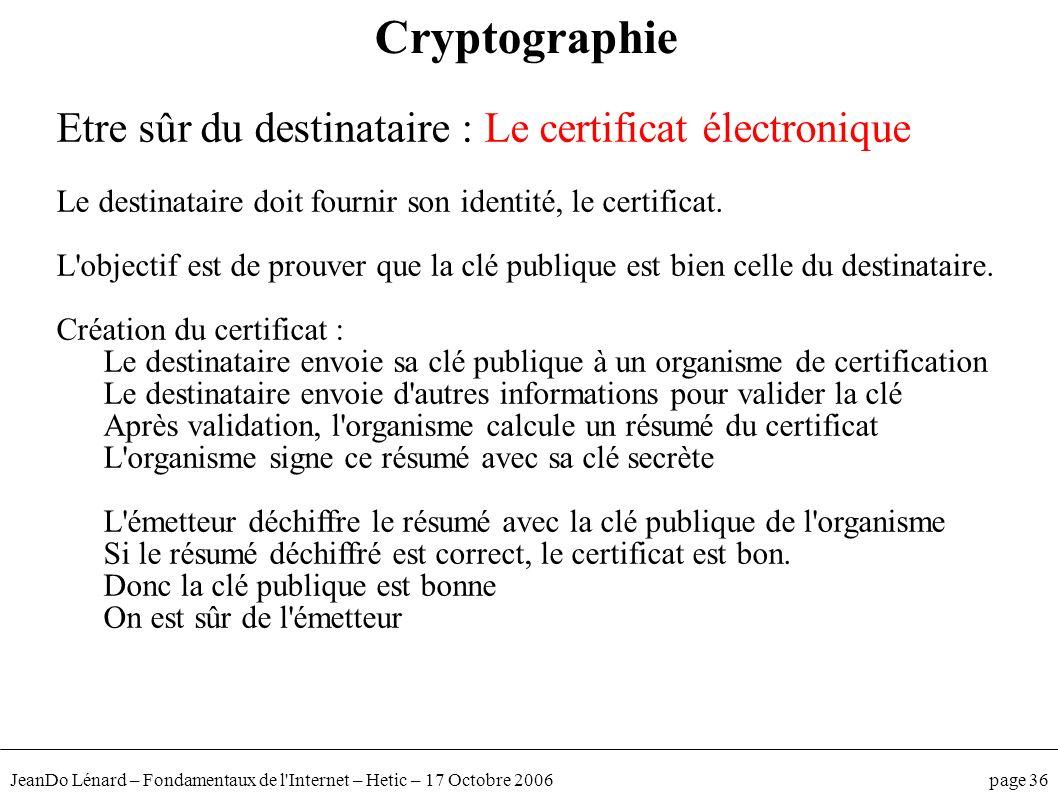 JeanDo Lénard – Fondamentaux de l'Internet – Hetic – 17 Octobre 2006 page 36 Etre sûr du destinataire : Le certificat électronique Le destinataire doi