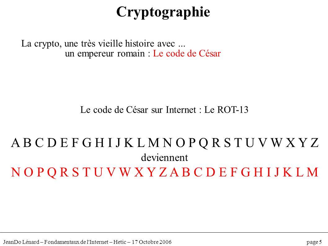 JeanDo Lénard – Fondamentaux de l'Internet – Hetic – 17 Octobre 2006 page 5 Cryptographie La crypto, une très vieille histoire avec... un empereur rom