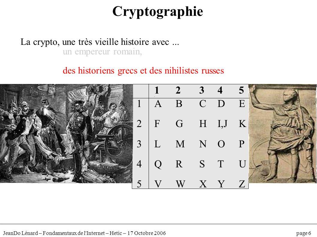 JeanDo Lénard – Fondamentaux de l'Internet – Hetic – 17 Octobre 2006 page 6 12345 d 1ABCDE 2FGHI,JK 3LMNOP 4QRSTU 5VWXYZ Cryptographie La crypto, une