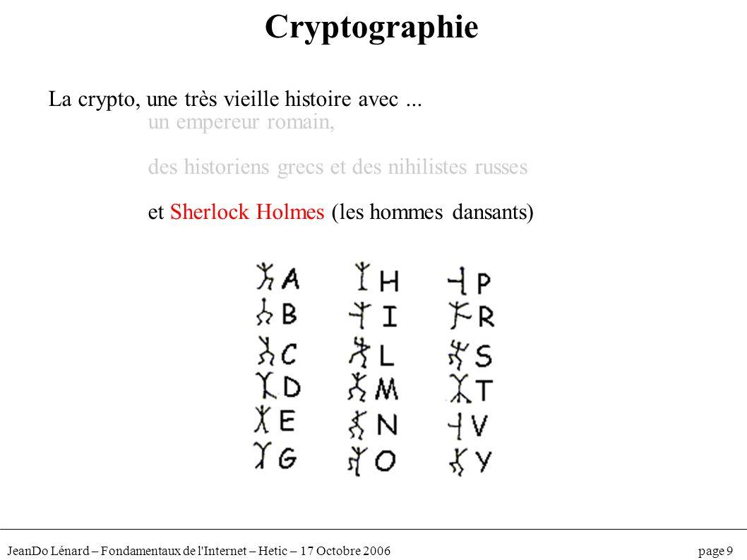 JeanDo Lénard – Fondamentaux de l'Internet – Hetic – 17 Octobre 2006 page 9 Cryptographie La crypto, une très vieille histoire avec... un empereur rom