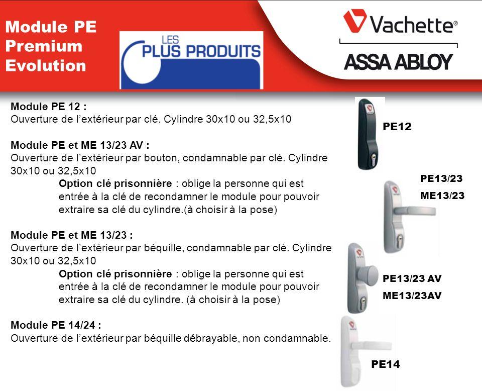 Module PE 12 : Ouverture de lextérieur par clé. Cylindre 30x10 ou 32,5x10 Module PE et ME 13/23 AV : Ouverture de lextérieur par bouton, condamnable p
