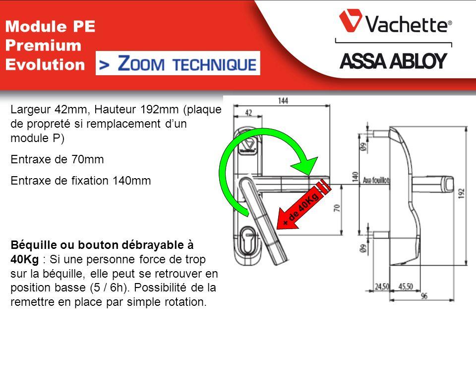Largeur 42mm, Hauteur 192mm (plaque de propreté si remplacement dun module P) Entraxe de 70mm Entraxe de fixation 140mm Béquille ou bouton débrayable