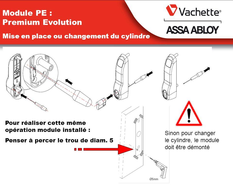 Module PE : Premium Evolution Pour réaliser cette même opération module installé : Penser à percer le trou de diam. 5 Sinon pour changer le cylindre,