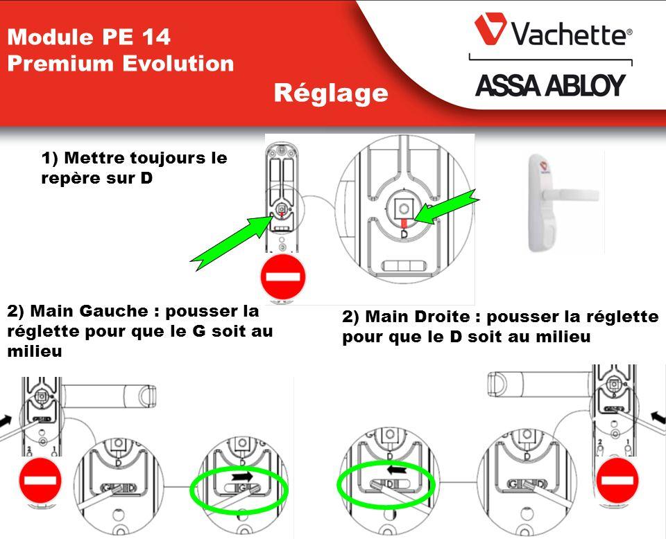 Module PE 14 Premium Evolution Réglage 2) Main Gauche : pousser la réglette pour que le G soit au milieu 2) Main Droite : pousser la réglette pour que