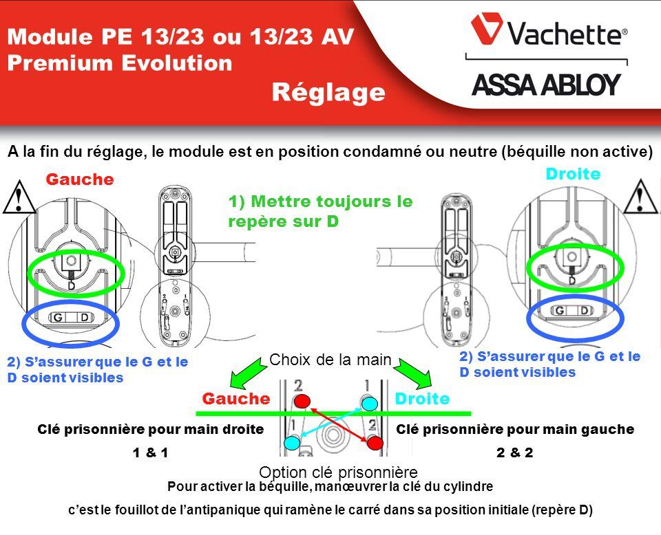 Module PE 13/23 ou 13/23 AV Premium Evolution Réglage A la fin du réglage, le module est en position condamné ou neutre (béquille non active) 1) Mettr