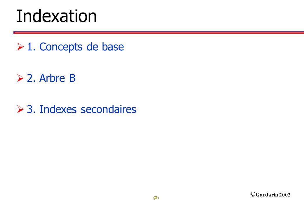 1 © Gardarin 2002 Indexation 1. Concepts de base 2. Arbre B 3. Indexes secondaires
