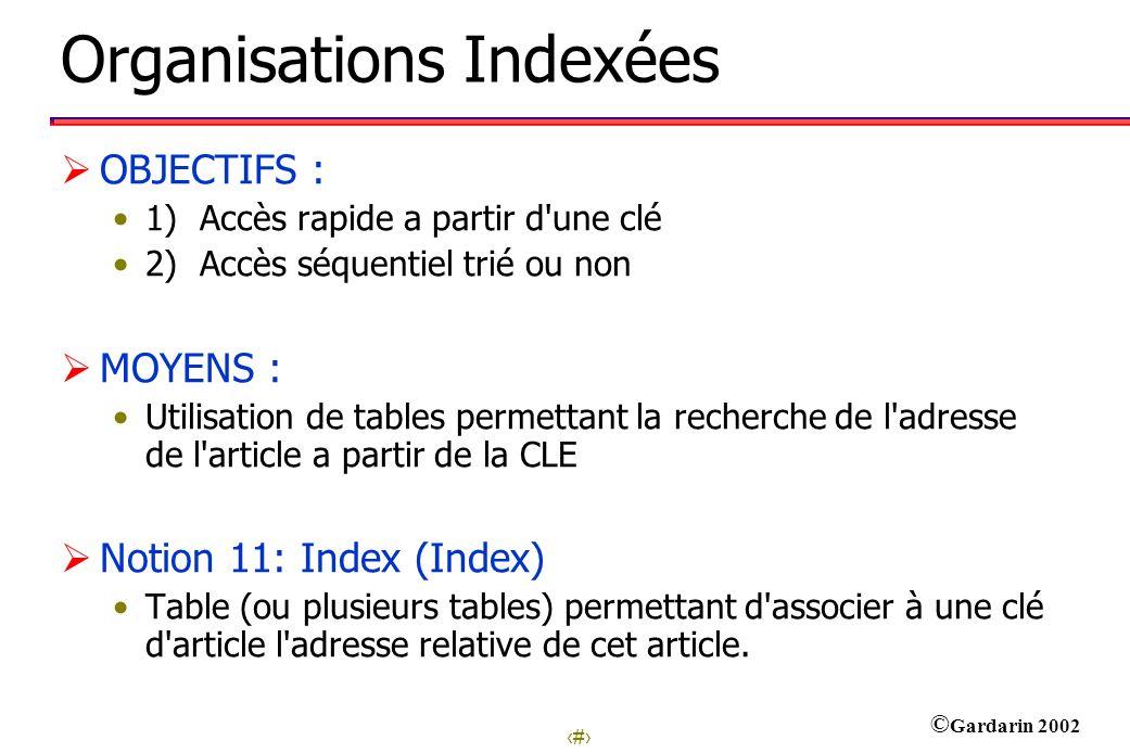 2 © Gardarin 2002 Organisations Indexées OBJECTIFS : 1) Accès rapide a partir d'une clé 2) Accès séquentiel trié ou non MOYENS : Utilisation de tables