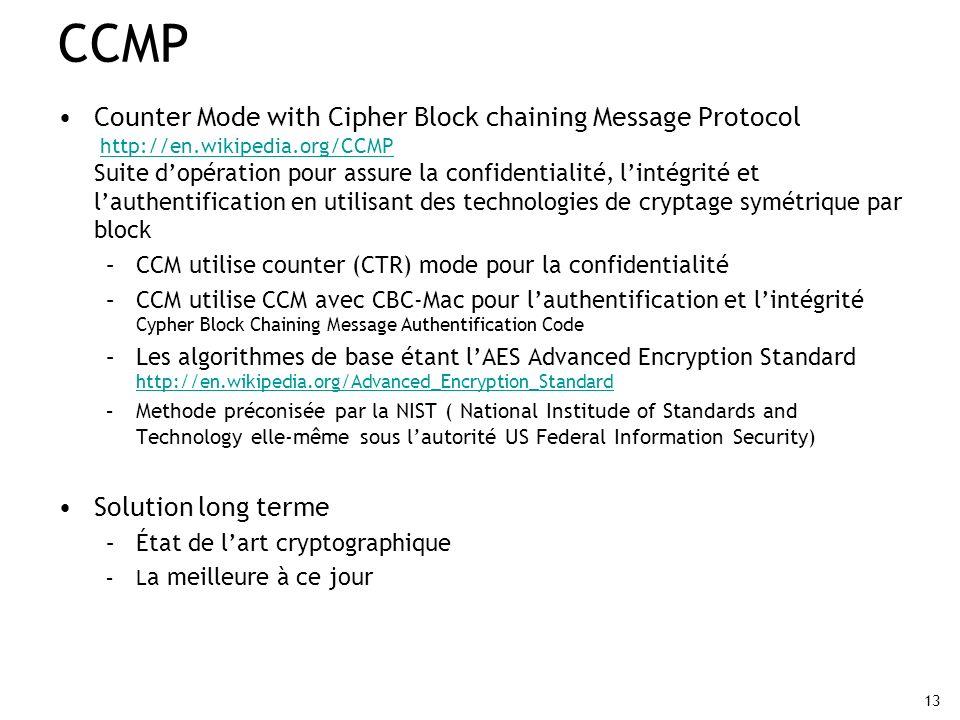 13 CCMP Counter Mode with Cipher Block chaining Message Protocol http://en.wikipedia.org/CCMP Suite dopération pour assure la confidentialité, lintégr