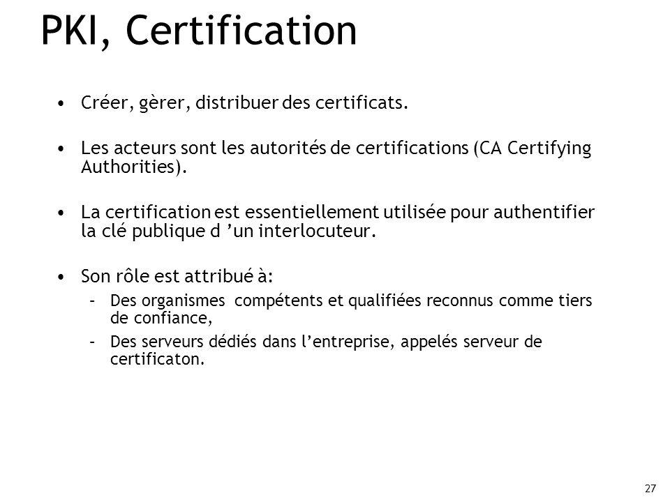 27 PKI, Certification Créer, gèrer, distribuer des certificats. Les acteurs sont les autorités de certifications (CA Certifying Authorities). La certi