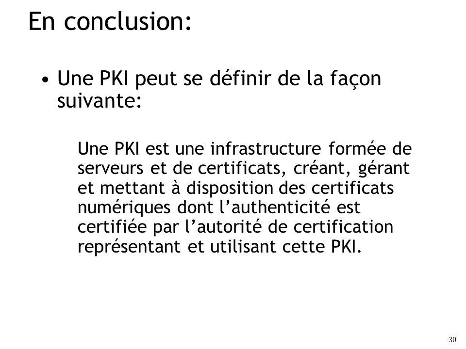 30 En conclusion: Une PKI peut se définir de la façon suivante: Une PKI est une infrastructure formée de serveurs et de certificats, créant, gérant et
