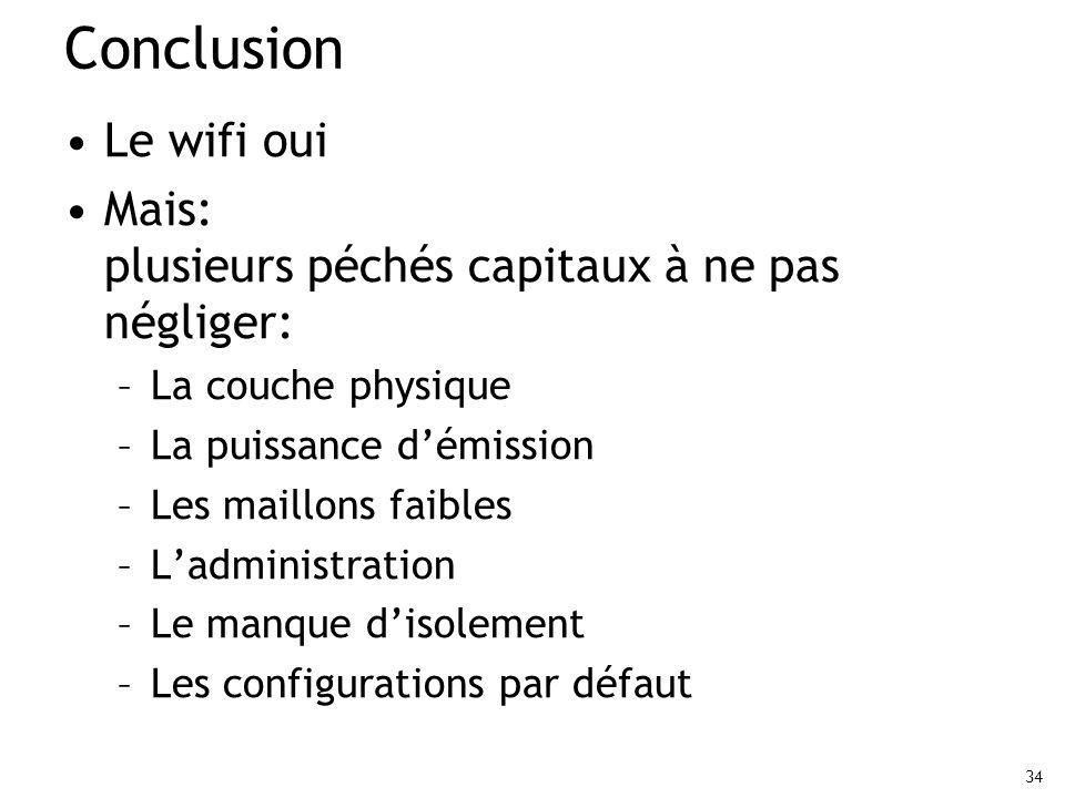 34 Conclusion Le wifi oui Mais: plusieurs péchés capitaux à ne pas négliger: –La couche physique –La puissance démission –Les maillons faibles –Ladmin