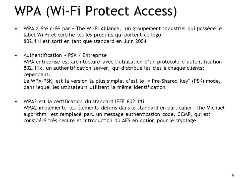 6 WPA (Wi-Fi Protect Access) WPA a été créé par « The WI-FI Alliance, un groupement industriel qui possède le label Wi-Fi et certifie les les produits