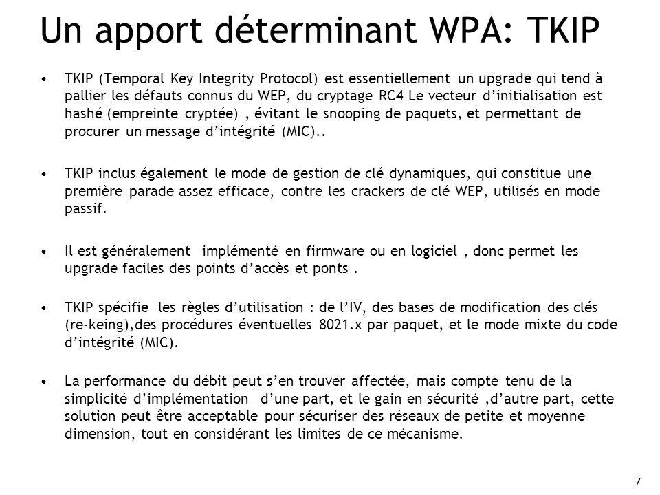 7 Un apport déterminant WPA: TKIP TKIP (Temporal Key Integrity Protocol) est essentiellement un upgrade qui tend à pallier les défauts connus du WEP,