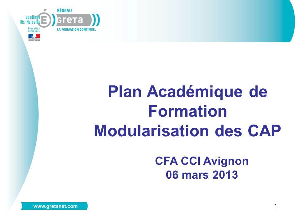 1 Plan Académique de Formation Modularisation des CAP CFA CCI Avignon 06 mars 2013