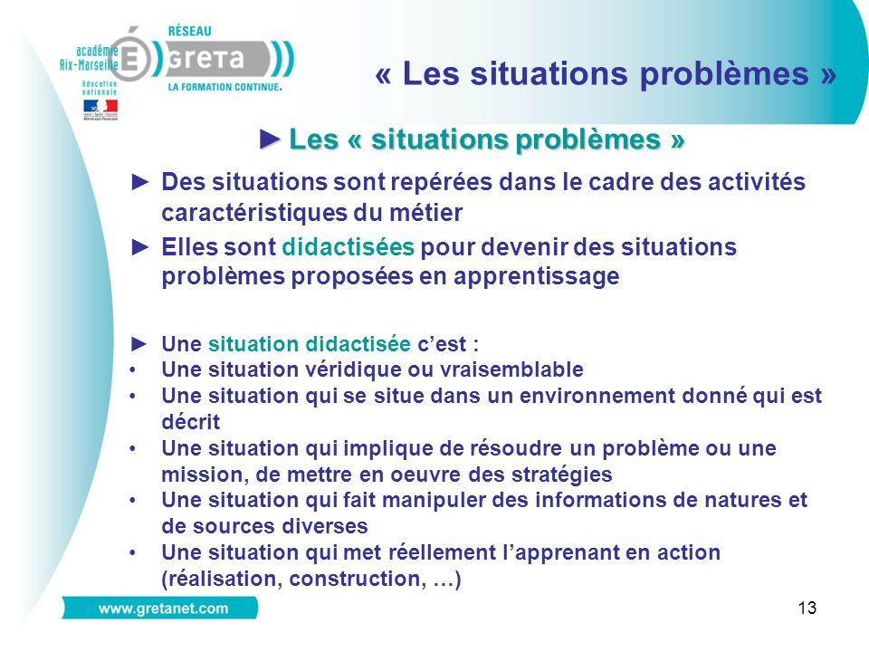 13 « Les situations problèmes » Les « situations problèmes »Les « situations problèmes » Des situations sont repérées dans le cadre des activités cara