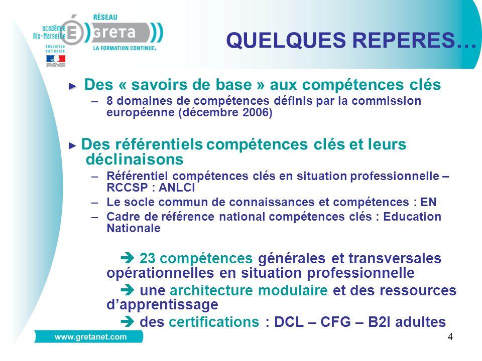 4 Des « savoirs de base » aux compétences clés –8 domaines de compétences définis par la commission européenne (décembre 2006) Des référentiels compét