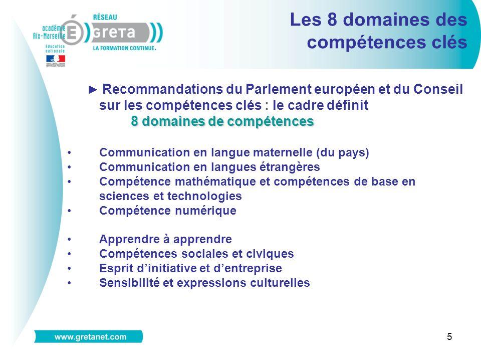 5 Les 8 domaines des compétences clés Recommandations du Parlement européen et du Conseil sur les compétences clés : le cadre définit 8 domaines de co