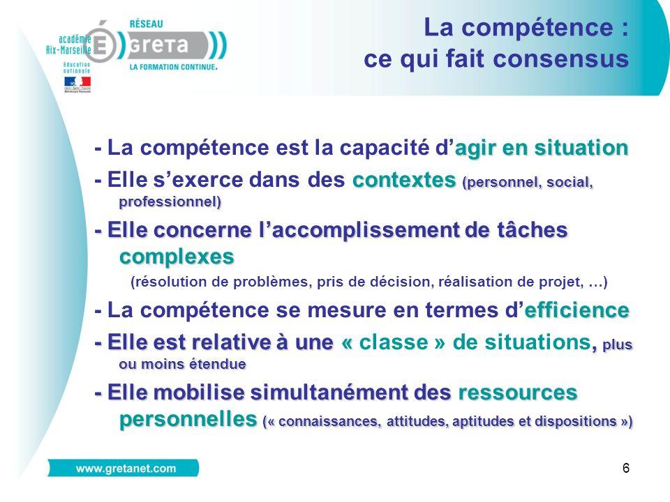 6 La compétence : ce qui fait consensus agir en situation - La compétence est la capacité dagir en situation contextes (personnel, social, professionn