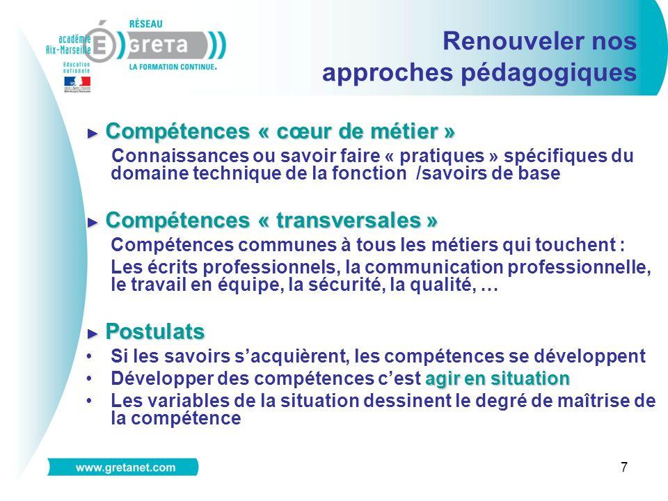 7 Compétences « cœur de métier » Compétences « cœur de métier » Connaissances ou savoir faire « pratiques » spécifiques du domaine technique de la fon