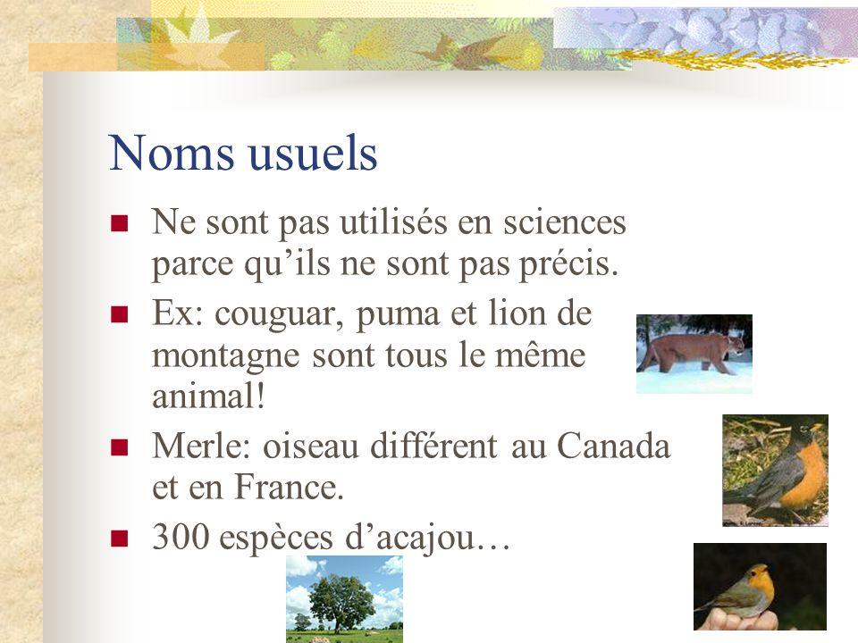 Noms usuels Ne sont pas utilisés en sciences parce quils ne sont pas précis. Ex: couguar, puma et lion de montagne sont tous le même animal! Merle: oi