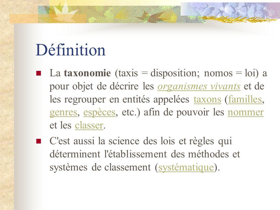 Définition La taxonomie (taxis = disposition; nomos = loi) a pour objet de décrire les organismes vivants et de les regrouper en entités appelées taxo
