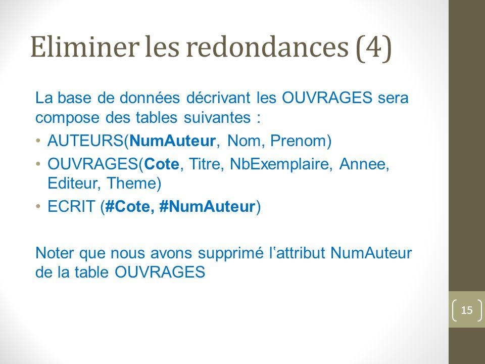 Eliminer les redondances (4) La base de données décrivant les OUVRAGES sera compose des tables suivantes : AUTEURS(NumAuteur, Nom, Prenom) OUVRAGES(Cote, Titre, NbExemplaire, Annee, Editeur, Theme) ECRIT (#Cote, #NumAuteur) Noter que nous avons supprimé lattribut NumAuteur de la table OUVRAGES 15
