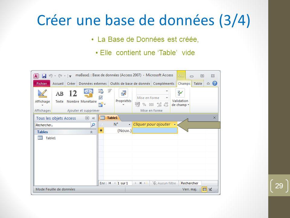 Créer une base de données (3/4) La Base de Données est créée, Elle contient une Table vide 29