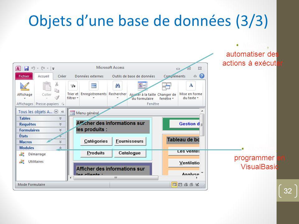 Objets dune base de données (3/3) Macros, automatiser des actions à exécuter Modules, programmer en VisualBasic 32