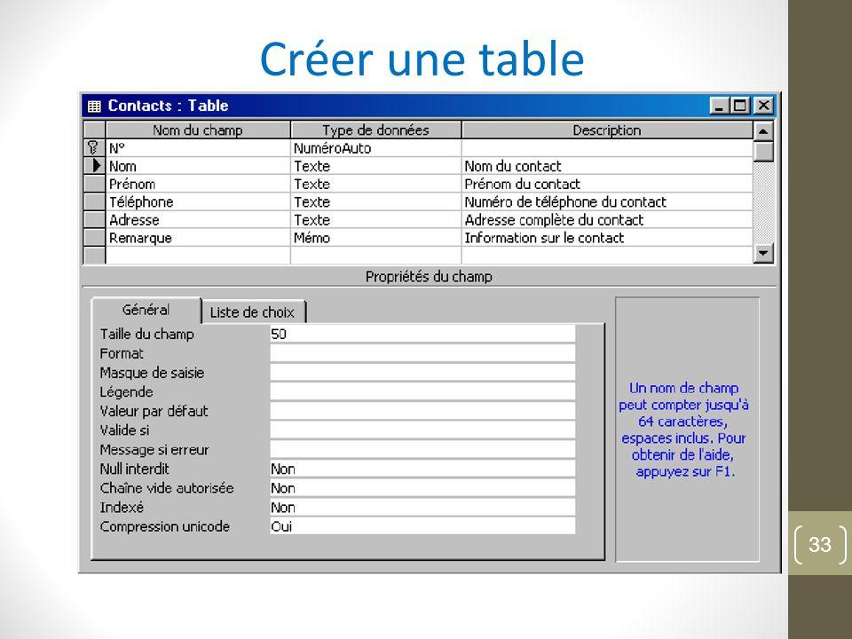 Créer une table 33
