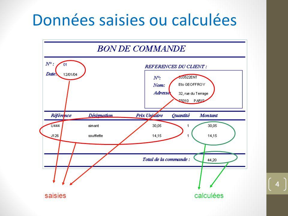 Données saisies ou calculées saisiescalculées 4