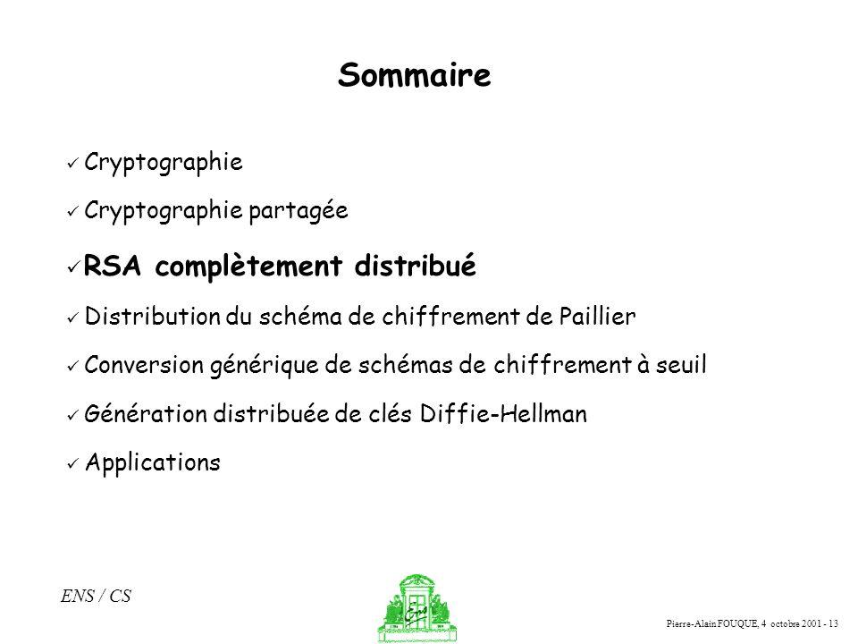 Pierre-Alain FOUQUE, 4 octobre 2001 - 13 ENS / CS Sommaire Cryptographie Cryptographie partagée RSA complètement distribué Distribution du schéma de c