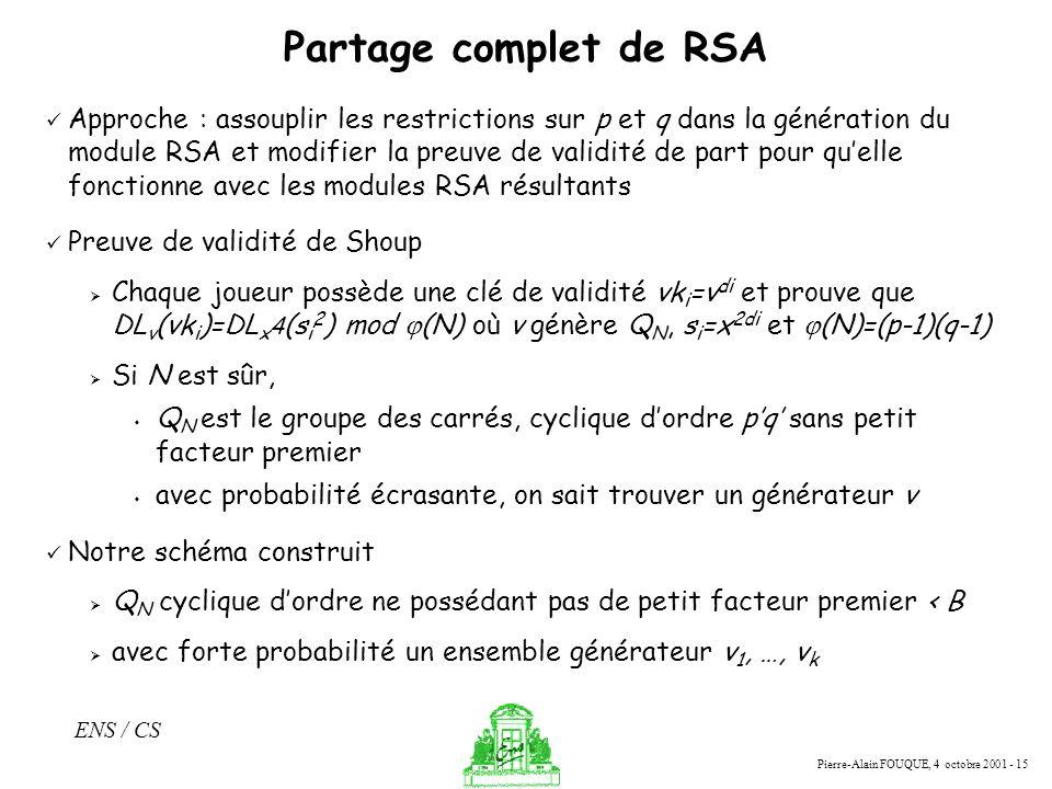 Pierre-Alain FOUQUE, 4 octobre 2001 - 15 ENS / CS Partage complet de RSA Approche : assouplir les restrictions sur p et q dans la génération du module