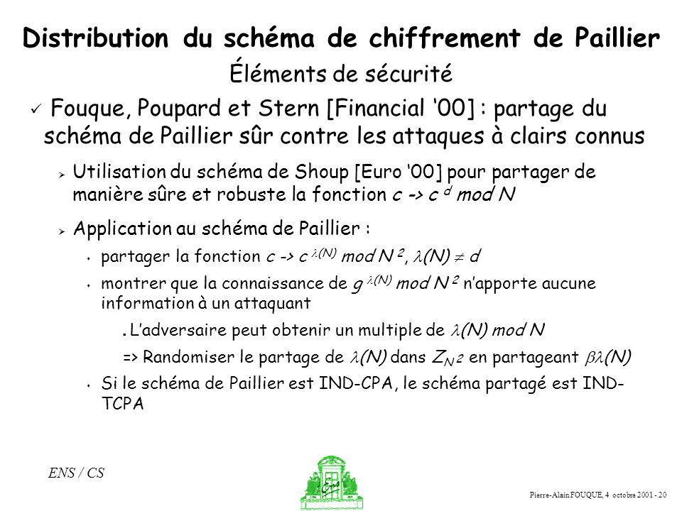 Pierre-Alain FOUQUE, 4 octobre 2001 - 20 ENS / CS Distribution du schéma de chiffrement de Paillier Fouque, Poupard et Stern [Financial 00] : partage