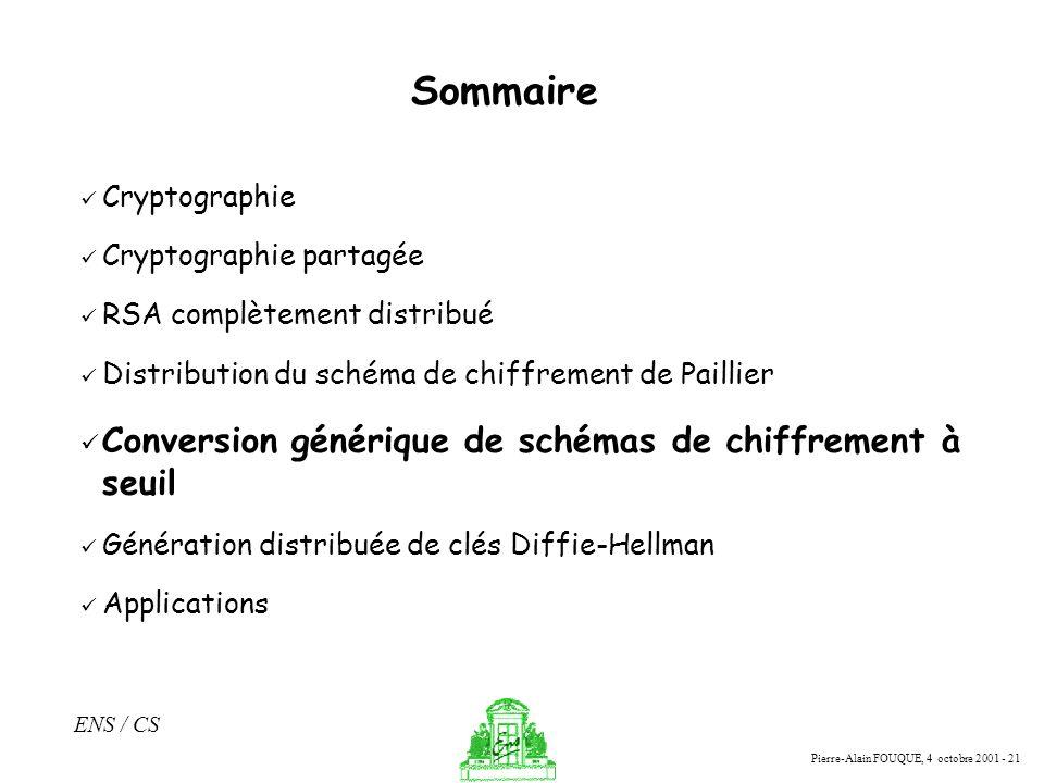 Pierre-Alain FOUQUE, 4 octobre 2001 - 21 ENS / CS Sommaire Cryptographie Cryptographie partagée RSA complètement distribué Distribution du schéma de c