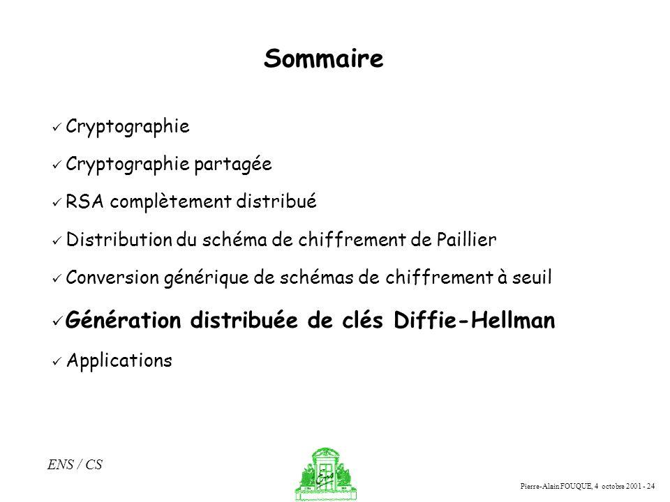 Pierre-Alain FOUQUE, 4 octobre 2001 - 24 ENS / CS Sommaire Cryptographie Cryptographie partagée RSA complètement distribué Distribution du schéma de c