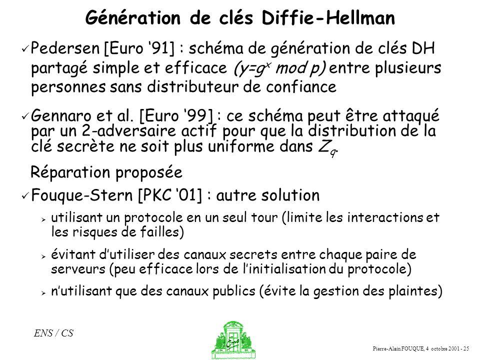 Pierre-Alain FOUQUE, 4 octobre 2001 - 25 ENS / CS Génération de clés Diffie-Hellman Pedersen [Euro 91] : schéma de génération de clés DH partagé simpl