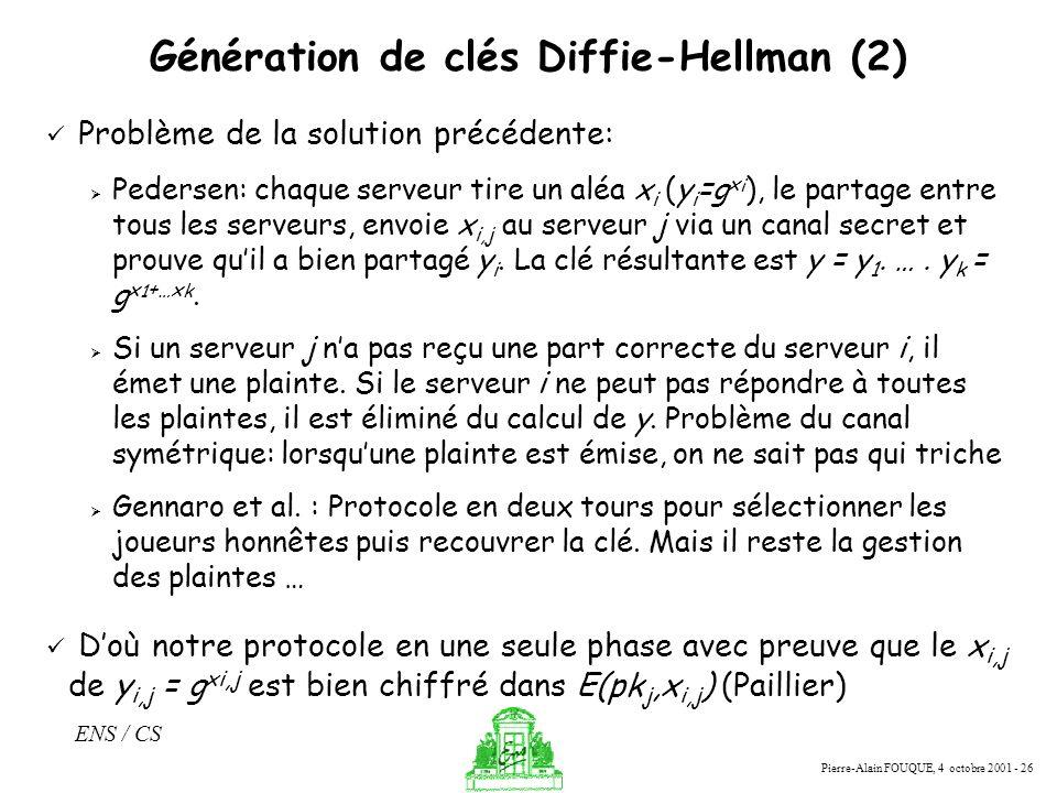 Pierre-Alain FOUQUE, 4 octobre 2001 - 26 ENS / CS Génération de clés Diffie-Hellman (2) Problème de la solution précédente: Pedersen: chaque serveur t