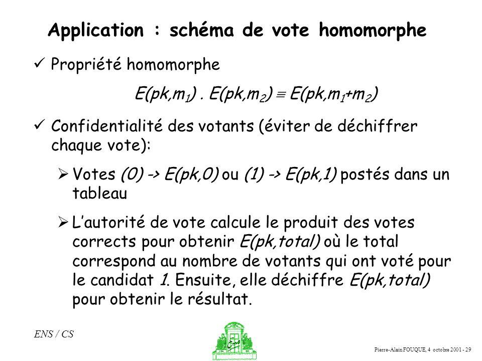 Pierre-Alain FOUQUE, 4 octobre 2001 - 29 ENS / CS Application : schéma de vote homomorphe Propriété homomorphe E(pk,m 1 ). E(pk,m 2 ) E(pk,m 1 +m 2 )
