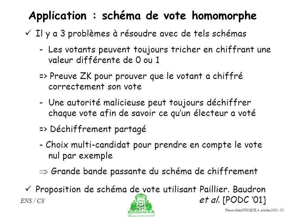 Pierre-Alain FOUQUE, 4 octobre 2001 - 30 ENS / CS Application : schéma de vote homomorphe Il y a 3 problèmes à résoudre avec de tels schémas -Les vota