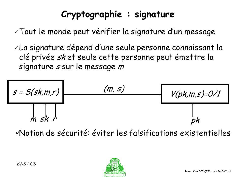 Pierre-Alain FOUQUE, 4 octobre 2001 - 5 ENS / CS Cryptographie : signature Tout le monde peut vérifier la signature dun message La signature dépend du