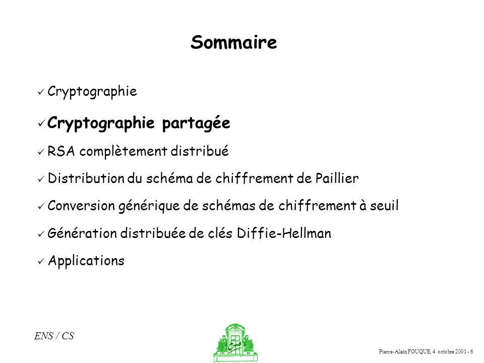 Pierre-Alain FOUQUE, 4 octobre 2001 - 6 ENS / CS Sommaire Cryptographie Cryptographie partagée RSA complètement distribué Distribution du schéma de ch