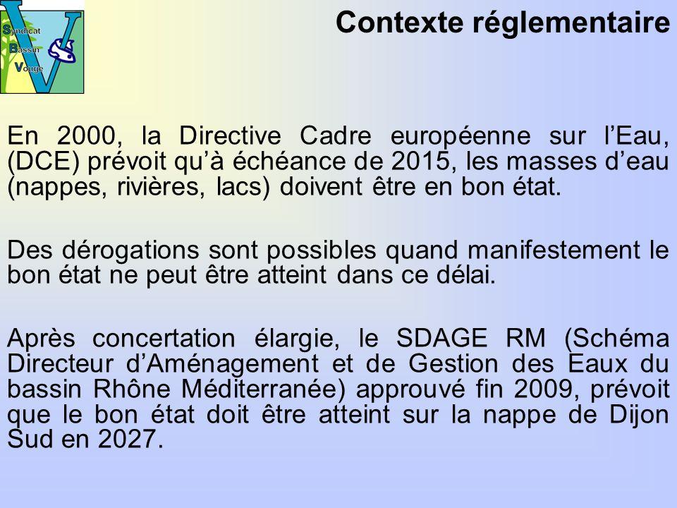 En 2000, la Directive Cadre européenne sur lEau, (DCE) prévoit quà échéance de 2015, les masses deau (nappes, rivières, lacs) doivent être en bon état.