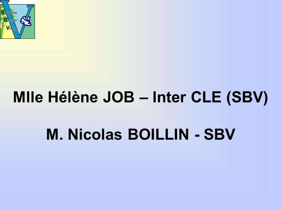 Mlle Hélène JOB – Inter CLE (SBV) M. Nicolas BOILLIN - SBV