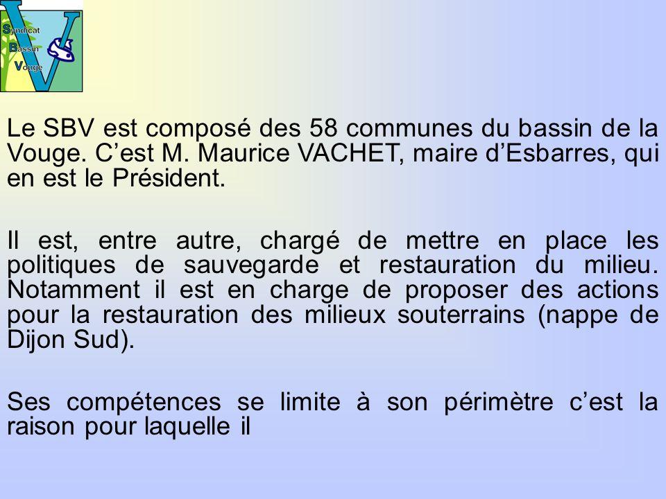 Le SBV est composé des 58 communes du bassin de la Vouge.