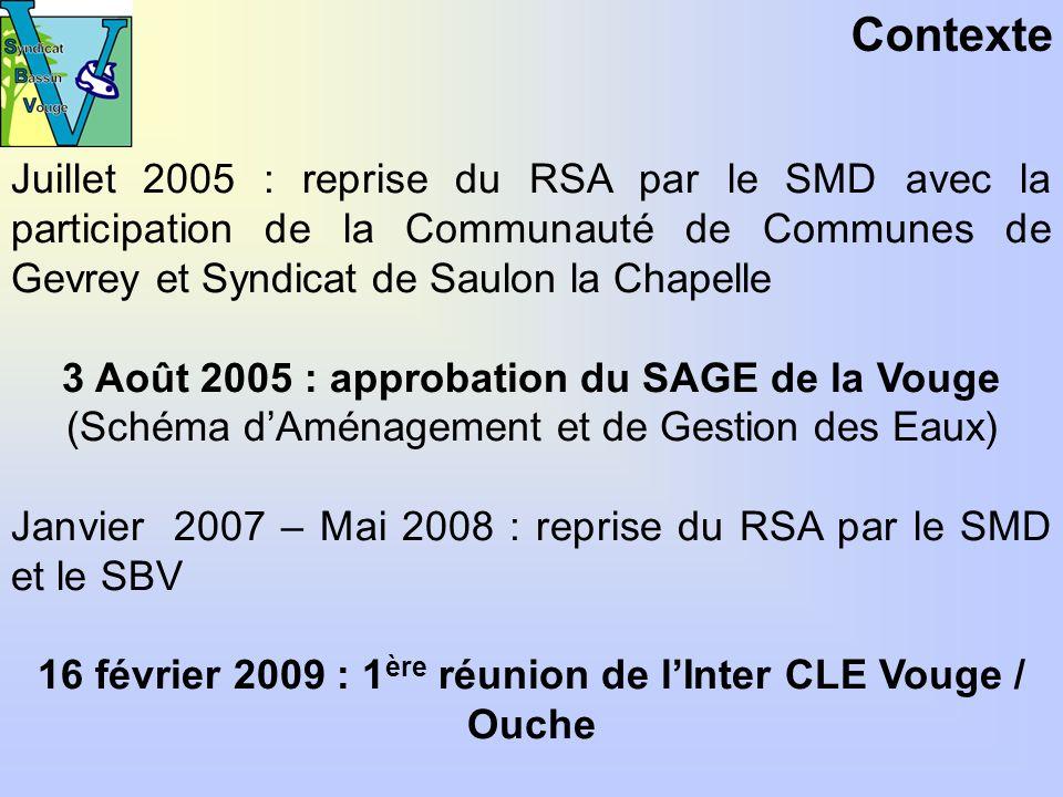 Contexte Juillet 2005 : reprise du RSA par le SMD avec la participation de la Communauté de Communes de Gevrey et Syndicat de Saulon la Chapelle 3 Août 2005 : approbation du SAGE de la Vouge (Schéma dAménagement et de Gestion des Eaux) Janvier 2007 – Mai 2008 : reprise du RSA par le SMD et le SBV 16 février 2009 : 1 ère réunion de lInter CLE Vouge / Ouche