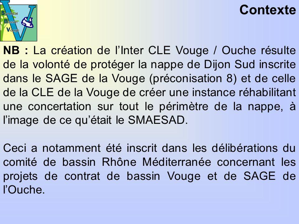 Contexte NB : La création de lInter CLE Vouge / Ouche résulte de la volonté de protéger la nappe de Dijon Sud inscrite dans le SAGE de la Vouge (préconisation 8) et de celle de la CLE de la Vouge de créer une instance réhabilitant une concertation sur tout le périmètre de la nappe, à limage de ce quétait le SMAESAD.