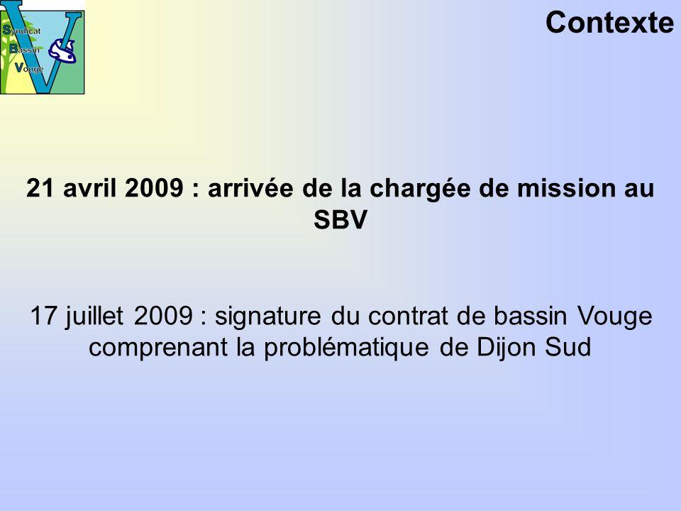 Contexte 21 avril 2009 : arrivée de la chargée de mission au SBV 17 juillet 2009 : signature du contrat de bassin Vouge comprenant la problématique de Dijon Sud