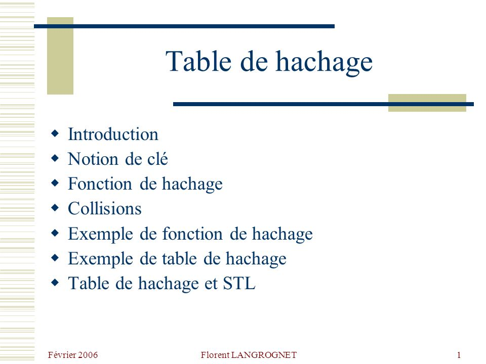 Février 2006 Florent LANGROGNET1 Table de hachage Introduction Notion de clé Fonction de hachage Collisions Exemple de fonction de hachage Exemple de table de hachage Table de hachage et STL