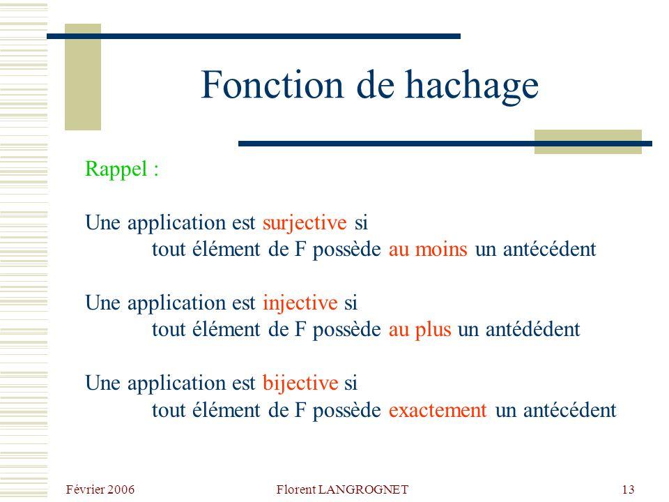 Février 2006 Florent LANGROGNET13 Fonction de hachage Rappel : Une application est surjective si tout élément de F possède au moins un antécédent Une application est injective si tout élément de F possède au plus un antédédent Une application est bijective si tout élément de F possède exactement un antécédent