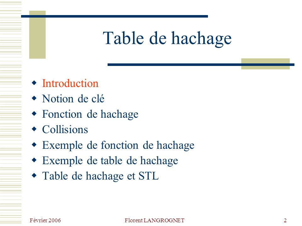 Février 2006 Florent LANGROGNET2 Table de hachage Introduction Notion de clé Fonction de hachage Collisions Exemple de fonction de hachage Exemple de table de hachage Table de hachage et STL